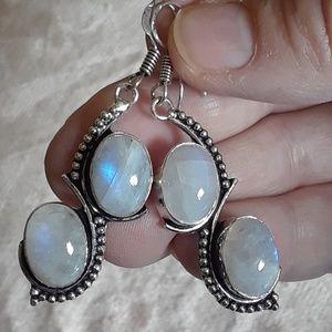 New! Sri Lankan Moonstone ornate .925 + Gift